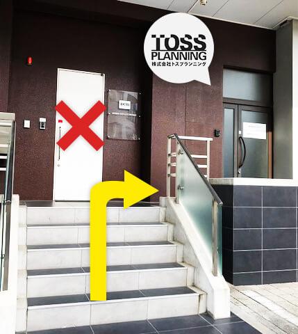 階段上がって、右側のドア2Fがトスプランニング